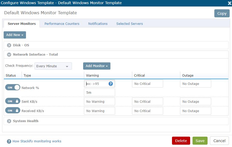 Retrace Server Monitoring Templates