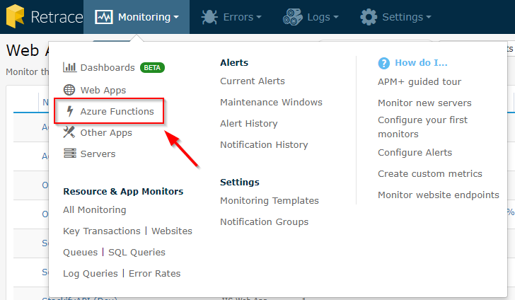 How to Monitor Azure Functions with Retrace